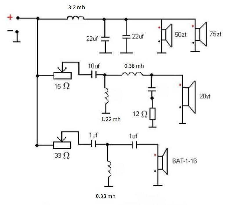 схема заводского кроссовера Radiotechnica S400m, 2-я версия